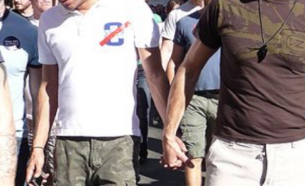 "Gay Couple at Same-Sex Marriage Rally in San Francisco, 2008 - Photo Courtesy ""bastique"" via Wikimedia"