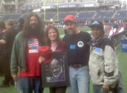 Me, Stephanie, Jeff and Paul with a picture of David. I know. My hair. Just let me be.